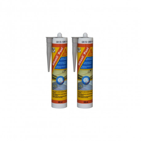 Lot de 2 mastic silicone SIKA Sikasil Pool - Joint pour piscine gris - 300ml