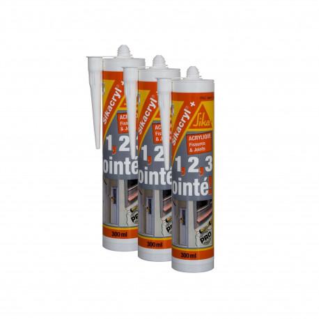 Mastic acrylique SIKA Sikacryl Plus - Blanc - Lot de 3 cartouches 300ml