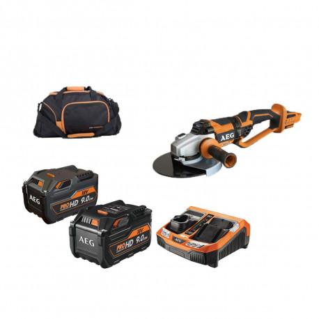Pack meuleuse brushless AEG 18V 230mm BEWS18-230BL-0 - pack énergie 9.0 Ah SETL1890R HD BLK - 1 batterie 9.0 Ah L1890R HD