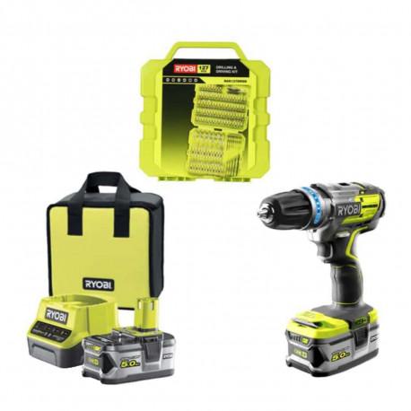 Pack RYOBI perceuse-visseuse à percussion Brushless - 1 batteries 5.0Ah- 1 batterie 2.0Ah - 1 chargeur 2.0Ah R18PDBL-252S - 127 accessoires de vissage RAK127DDSD