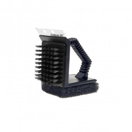 Brosse de nettoyage 3 en 1 pour barbecue - Noire - 9,5 cm