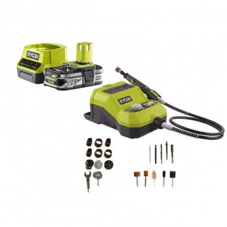 Pack RYOBI Mini-outil multifonction 18V - 33 accessoires R18RT-0 - 1 Batterie 2.5Ah - 1 Chargeur rapide RC18120-125
