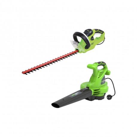 Pack GREENWORKS Souffleur électrique 2800W GBV2800 - Taille-haies électrique 56 cm 500W GHT5056