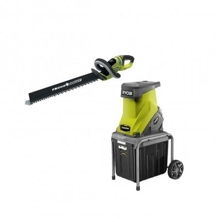 Pack RYOBI Broyeur de végétaux 2500W RSH2545B - Taille-haies 18V OnePlus OHT1855R - sans batteries - sans chargeur