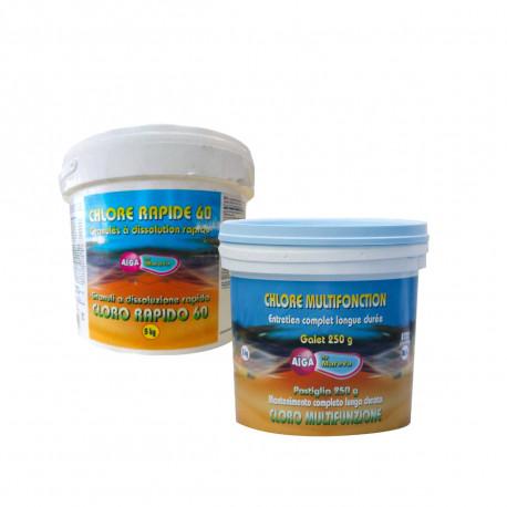 Pack nettoyage au chlore Aiga MAREVA pour piscine - chlore multifonctions - chlore rapide