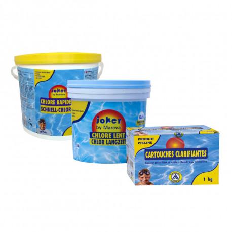 Pack nettoyage au chlore Joker MAREVA pour piscine - chlore lent - chlore rapide - cartouches clarifiantes