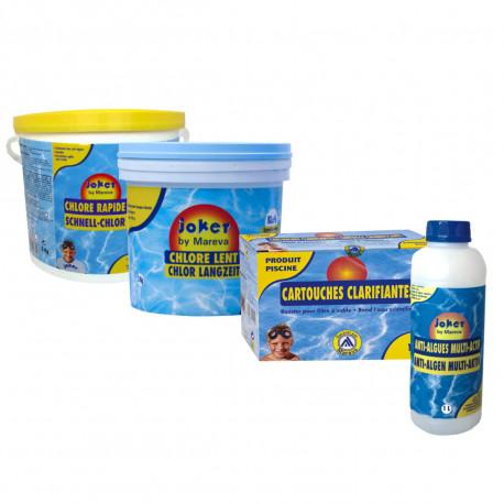 Pack complet nettoyage au chlore Joker MAREVA pour piscine - chlore lent - chlore rapide - clarifiant - anti-algues