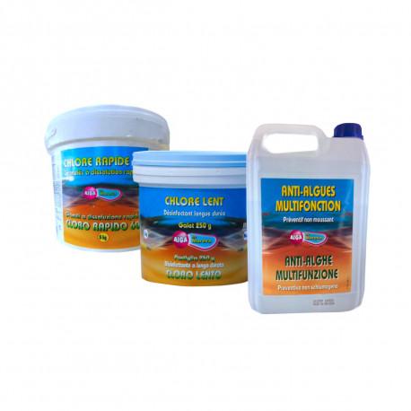 Pack complet nettoyage au chlore Aiga MAREVA pour piscine - chlore lent - chlore rapide - anti-algues