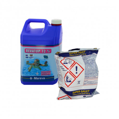 Pack nettoyage au chlore MAREVA pour grande piscine - Super galet - Revatop