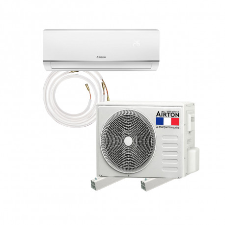 Pack Climatiseur reversible AIRTON - A Poser Soi-meme - 3400W - Readyclim 4M - Support mural - 409731SS