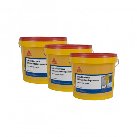 Lot de 3 colles à carrelage en pâte pour carreaux et plaquette de parement (D1-ET) - SIKA SikaCeram Basic - Ivoire - 3 x 15kg